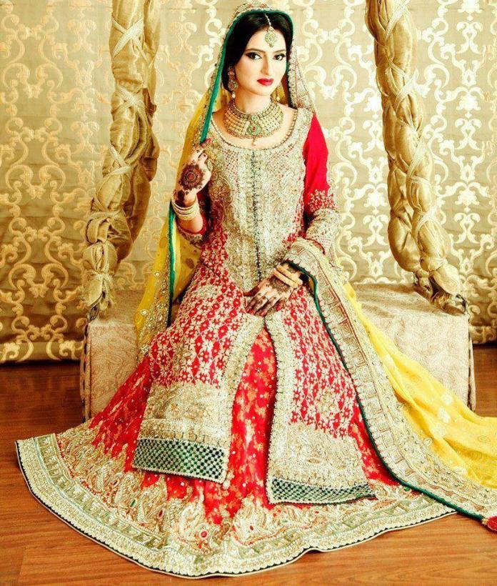 bright red pakistani bride wedding dress