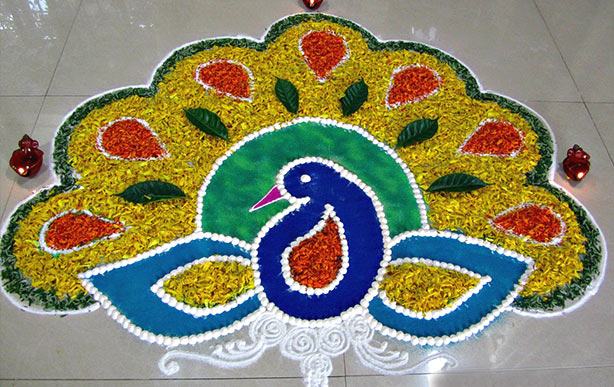Top 50+ Latest Best Beautiful Easy Peacock Rangoli Design