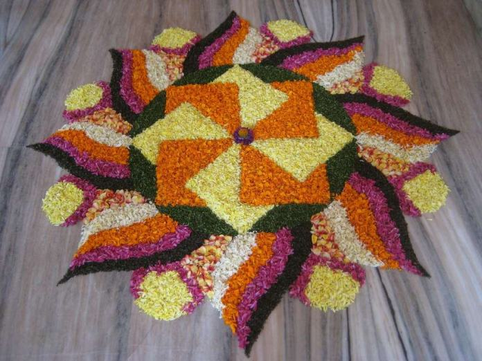 flowers rangoli design for wedding