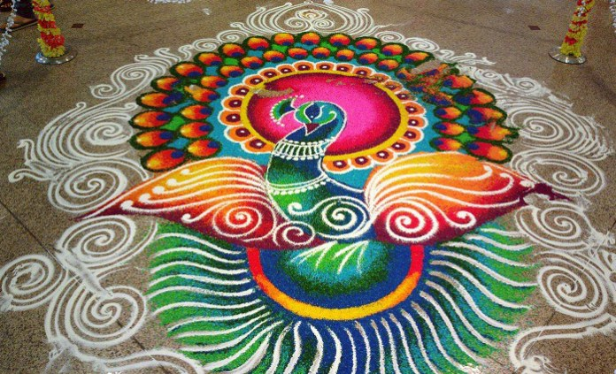 beautiful peacock rangoli design for diwali