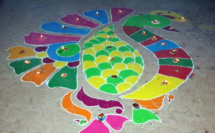 colorfoul peacock rangoli design