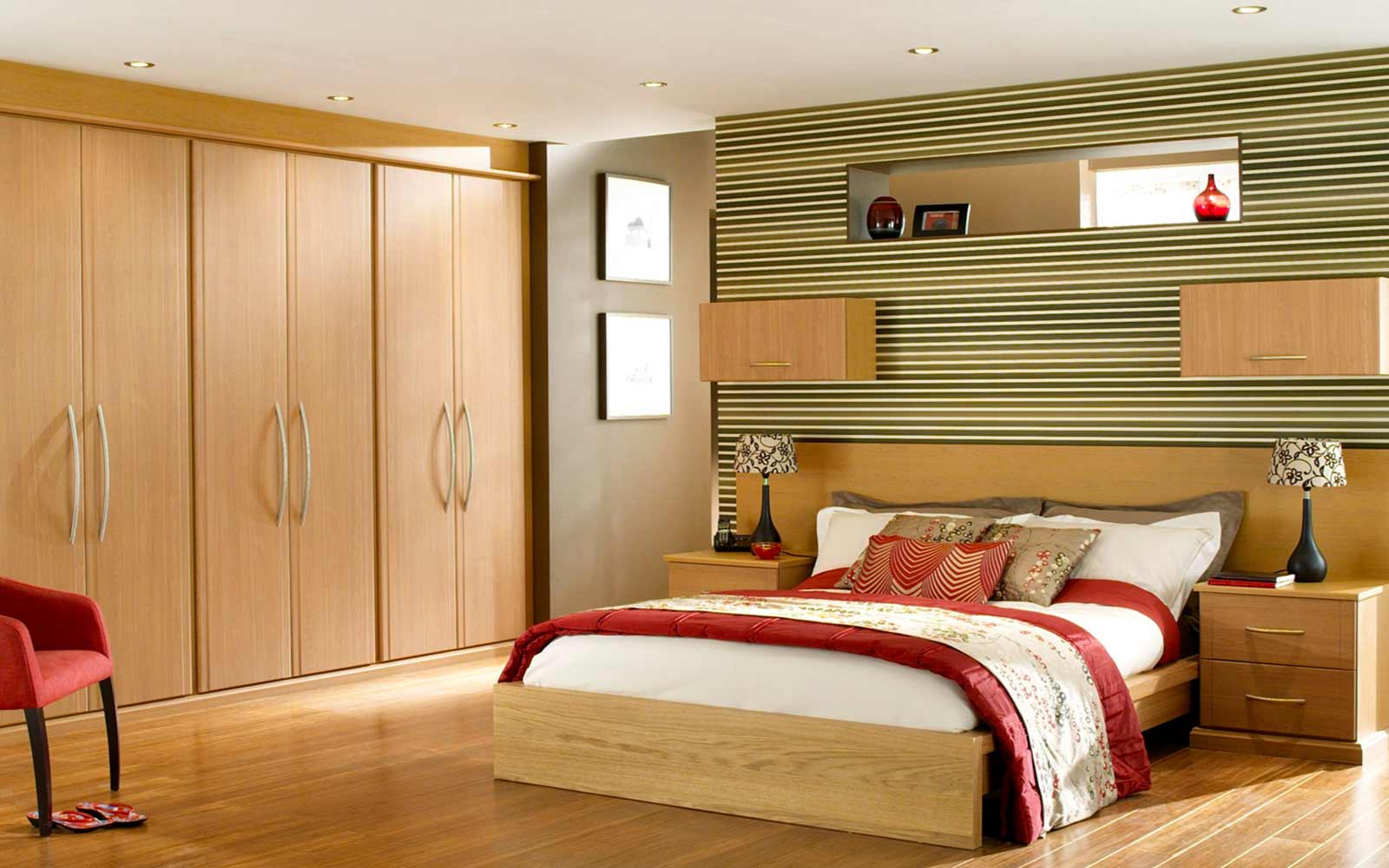 Indian bedroom furniture designs - The Wardrobes At The Side And Dusky Sand Colored Furniture Gives A Very Beautiful Look To The Room The Design Of The Wall Behind The Bed