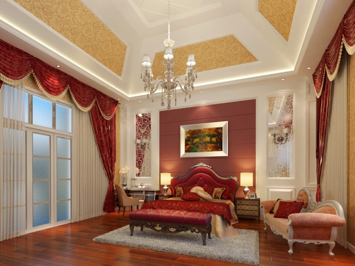Red Color Room Interior Beautiful False Ceiling Designs