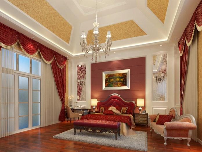 Red Color Room Interior Beautiful False Ceiling Designs