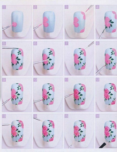 flowers nail art design