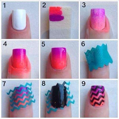 bright color nail art design