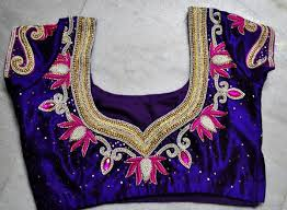 pearl embroidery blouse design