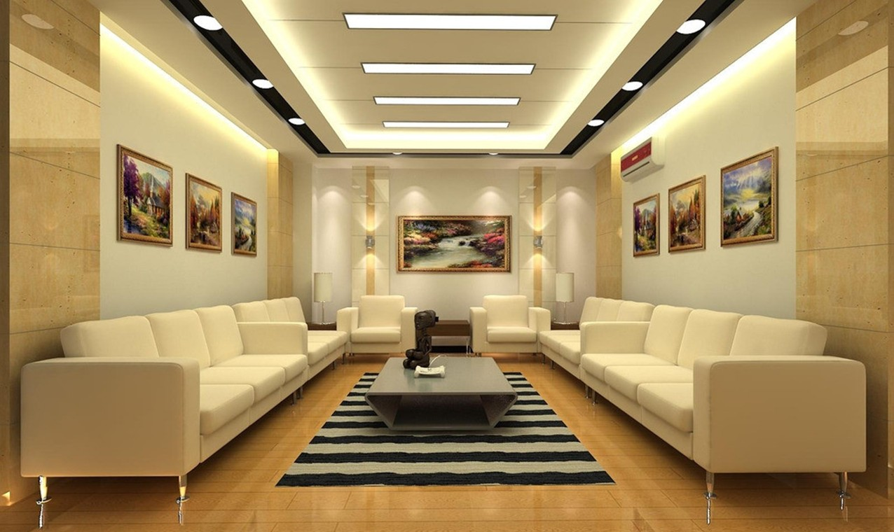 The Circle in the middle of the ceiling looks really pretty and a hanging  lamp adds a beauty to the ceiling.This False Ceiling Design For Bedroom is  one of ... - 25 Latest False Designs For Living Room & Bed Room