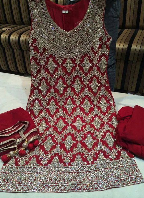 punjabi patiala red suit design