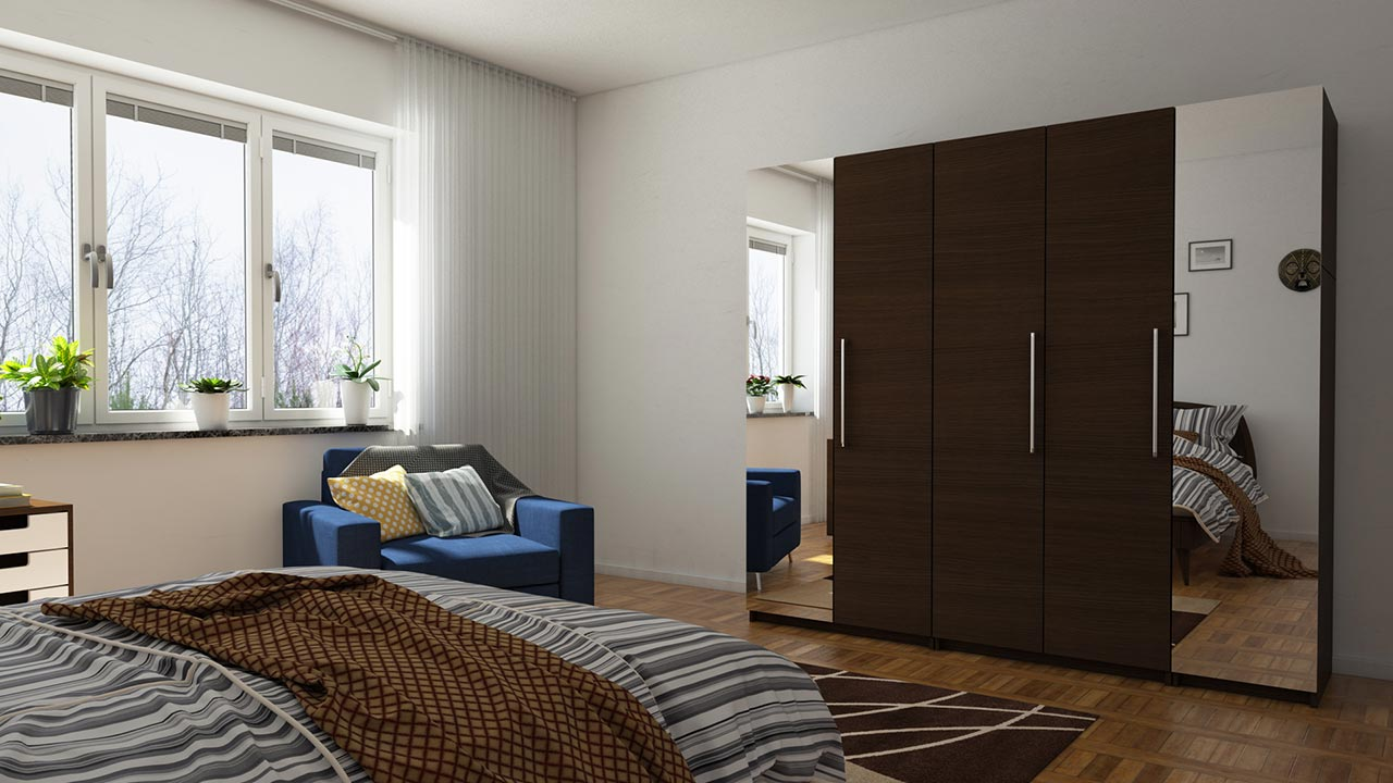 contemporary wardrobe design with beautiful mirror sliding door - Designer Bedroom Wardrobes
