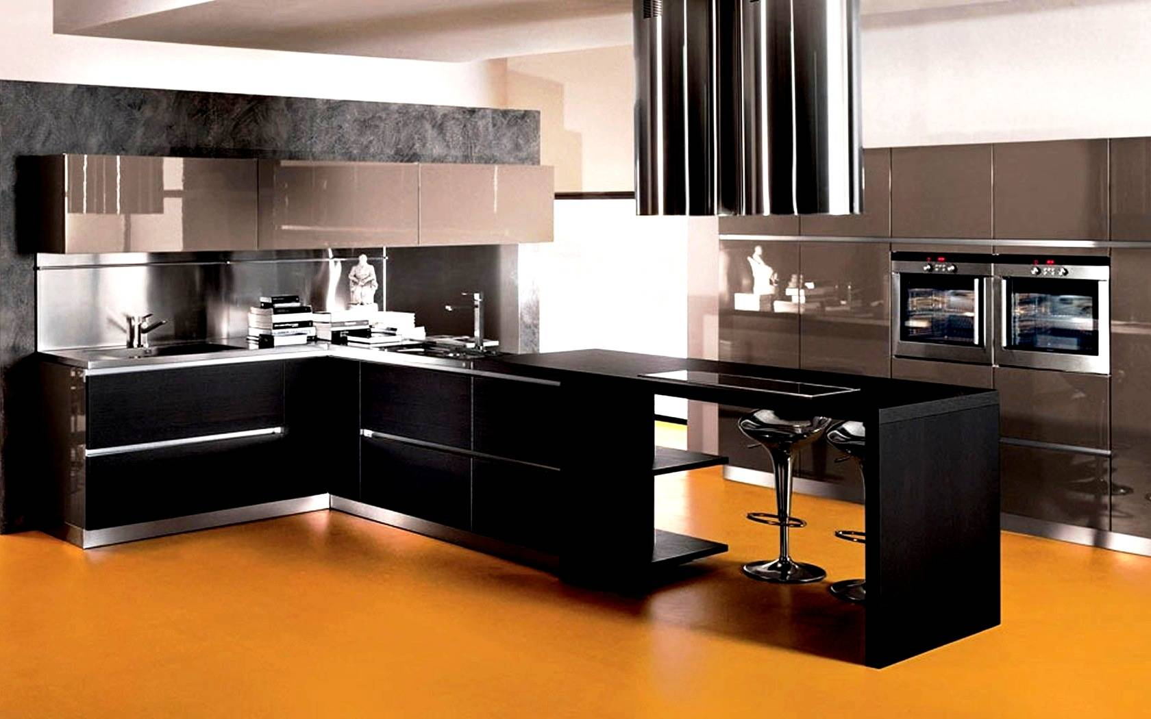 25 latest design ideas of modular kitchen pictures for Kitchen designs black