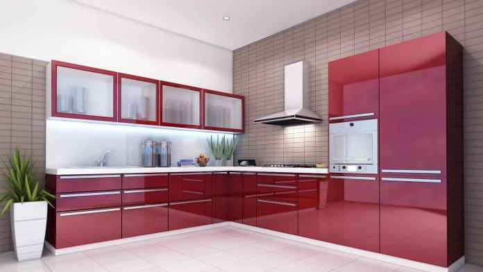 Red Color Modular Kitchen Ideas and Pictures
