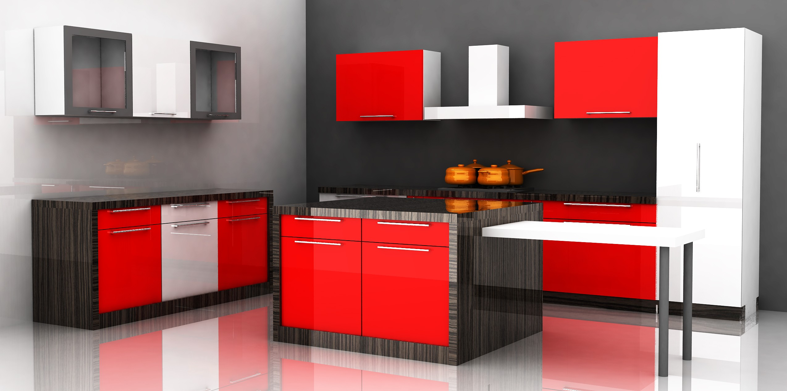 the red and black colored ply on the drawers and storage looks damn cool the type of the modular kitchen is island modular kitchen