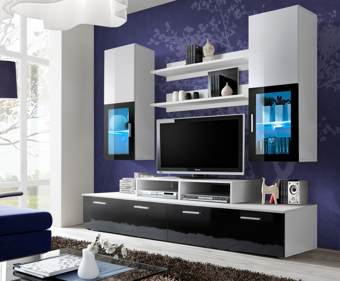 20 modern tv unit design ideas for bedroom living room for Living room with 65 inch tv