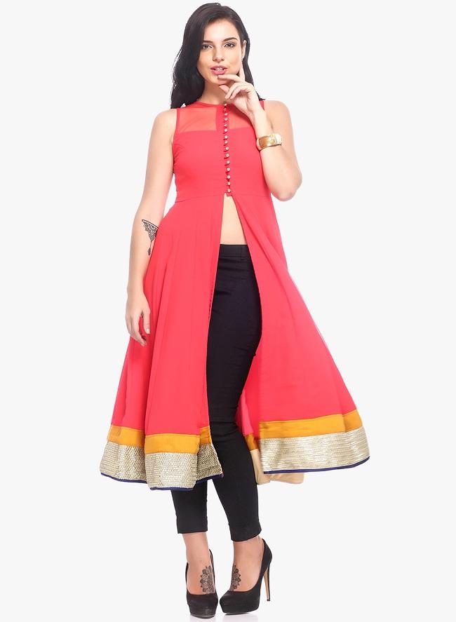 pink-solid-front-open-slit-kurti-stylish-kurti-design-patterns