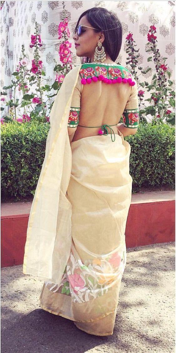 back neck blouse design for silk saree