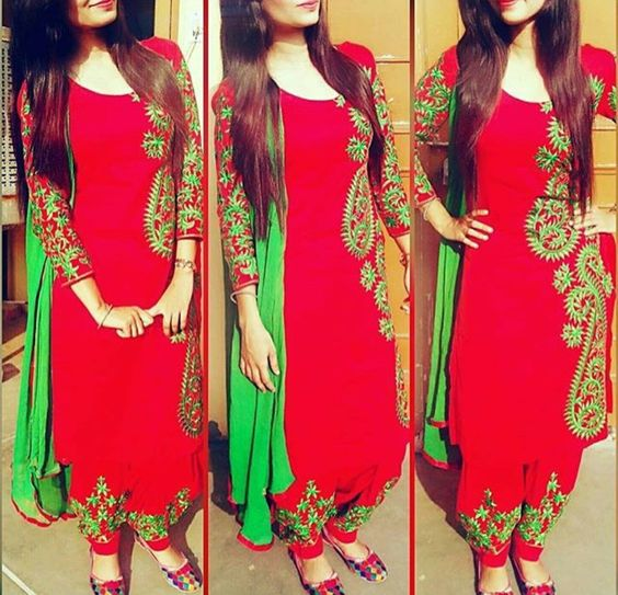 embroided punjabi suit design