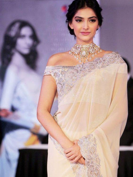 sonam kapoor off shoulder blouse neck design