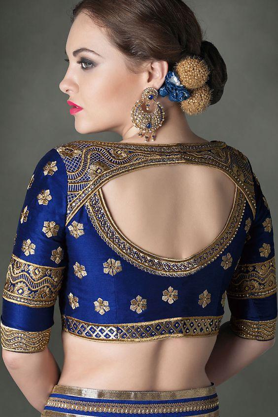 beautiful neck blouse design