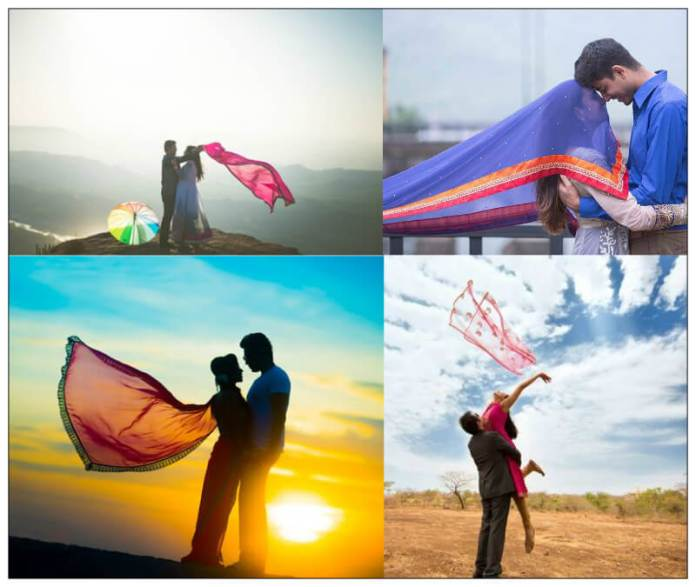 pre wedding photoshoot poses with dupatta