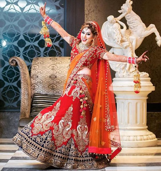 beautiful red dulhan lehanga