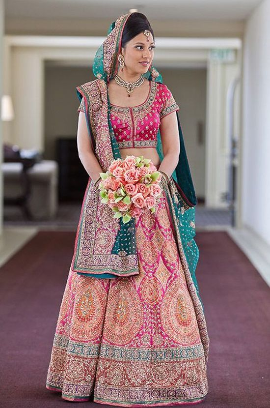 colorful bridal lehanga