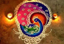 beautiful peacock rangoli design