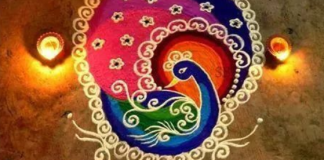 beautiful peacock rangoli design