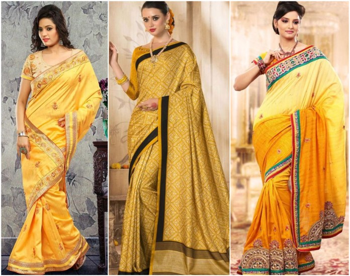 Bhagalpuri Silk Yellow Saree