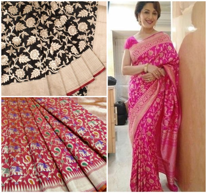 Jangla Design Banarasi silk Saree