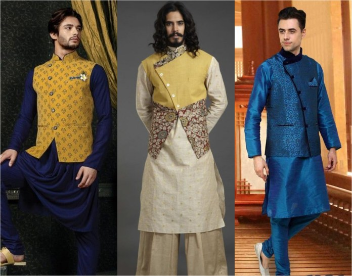 Angrakha Style Jacket With  Kurta Pajama