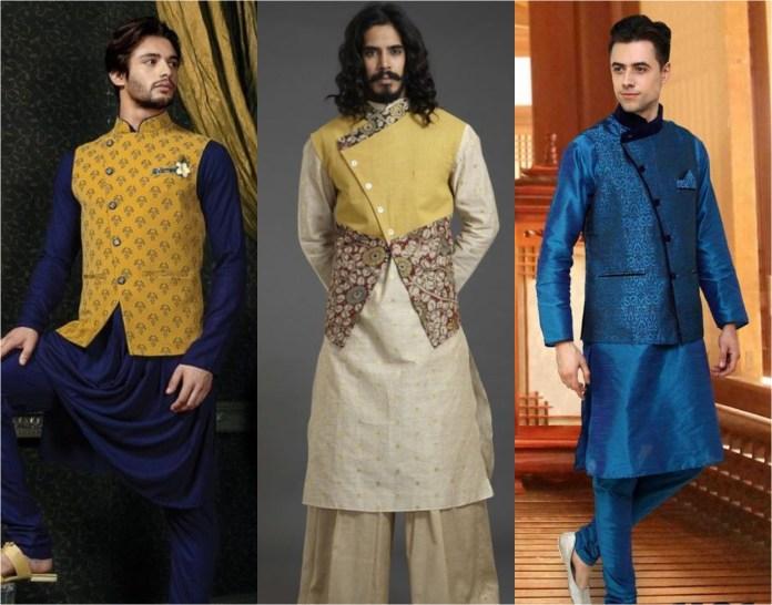 Angrakha Style Jacket With Kurta Pajama