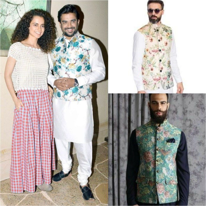 Kurta Pajama With Floral Prints Jacket