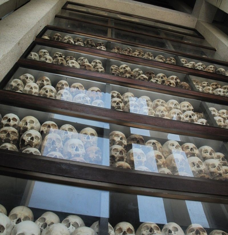 Skulls in the stupa at the Killing Fields