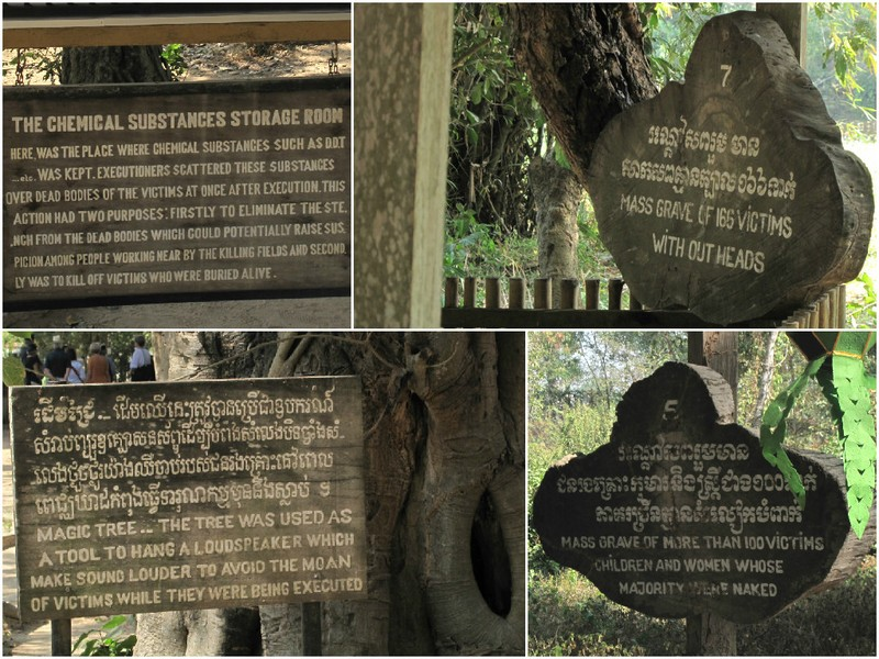 Signs for the mass graves at the Killing Fields