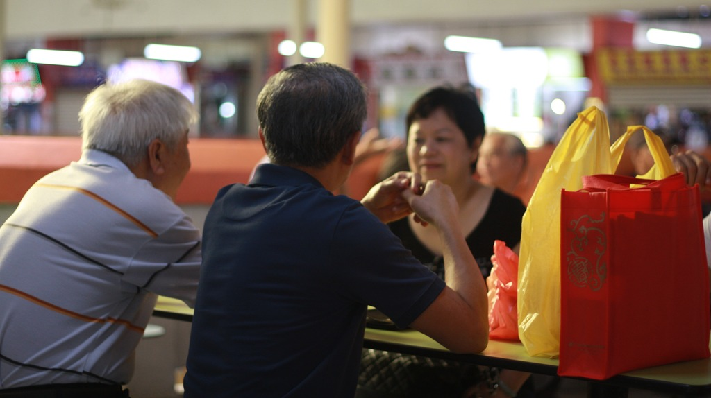 Singaporeans at a hawker centre
