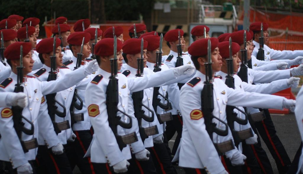Singapore military marching