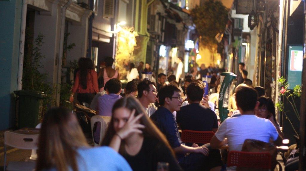 People drinking on Haji Lane