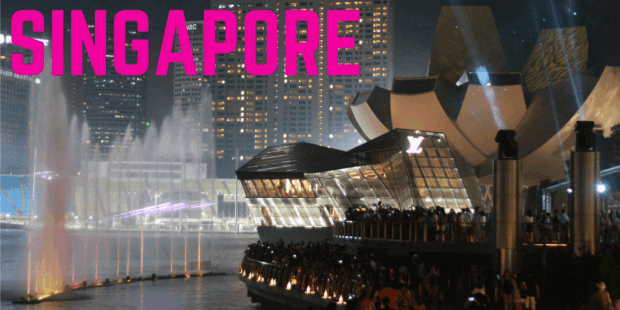 Singapore water show at night