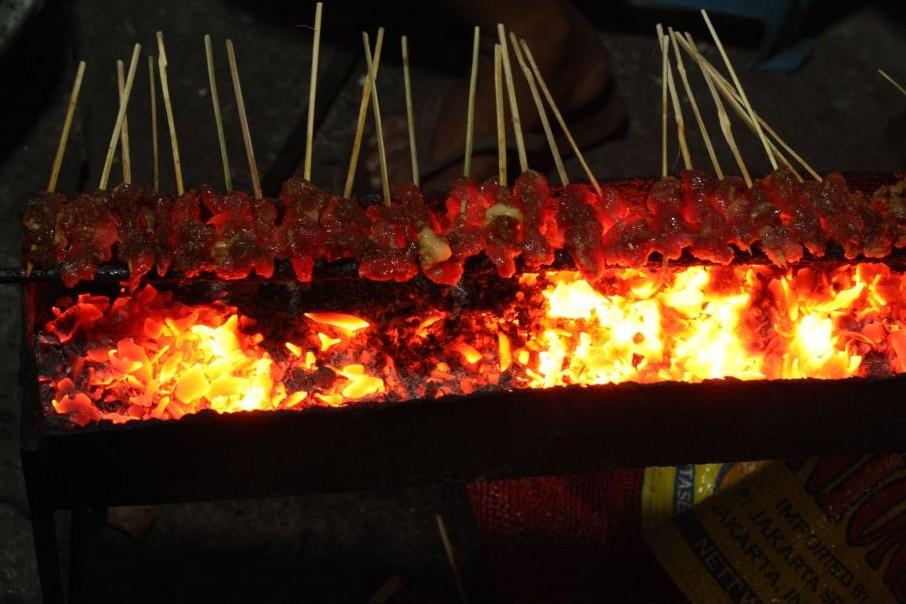 Pork kebabs in Ubud