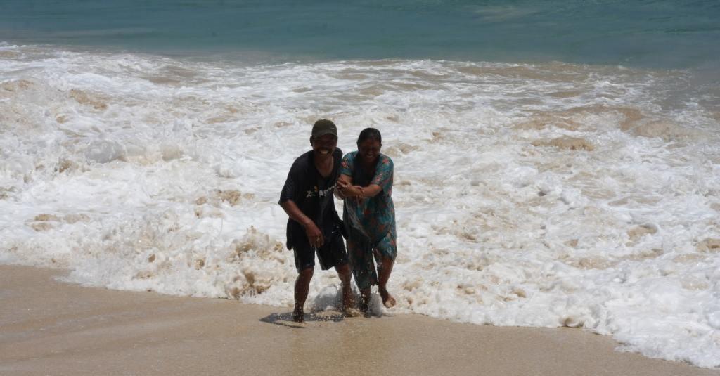 Indonesian couple at Dreamland Beach in Bali