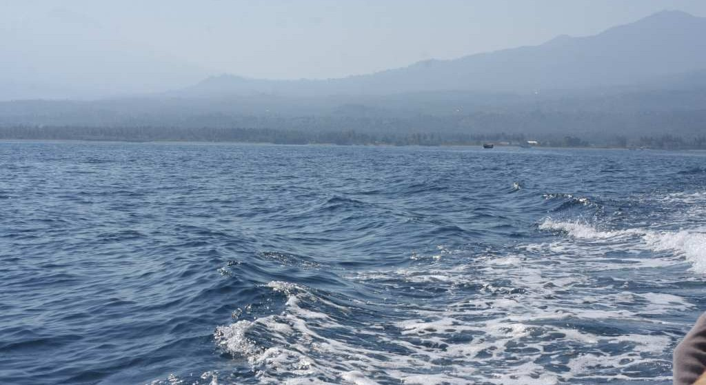 View of Mt Rinjani from ferry
