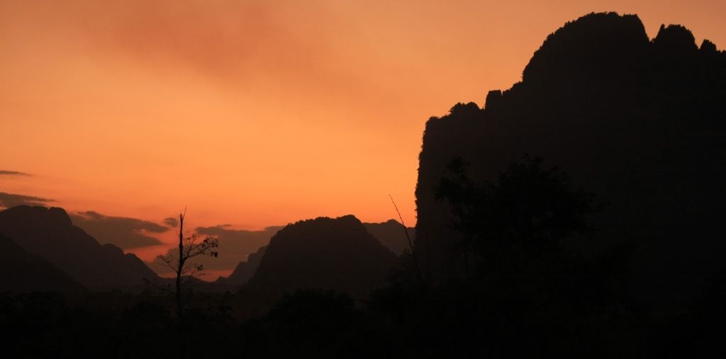 Vang Vieng countryside sunset