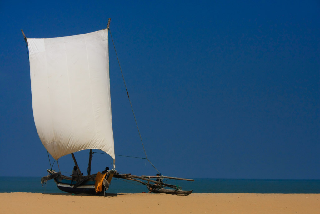 Yacht at Negombo beach