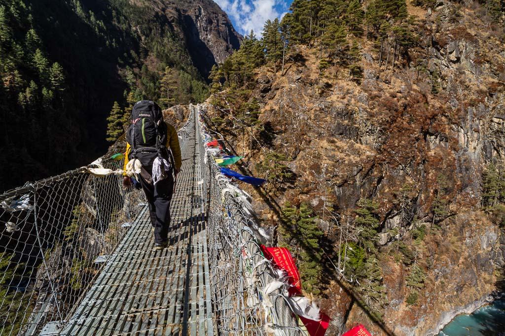 Crossing the Hillary suspension bridge