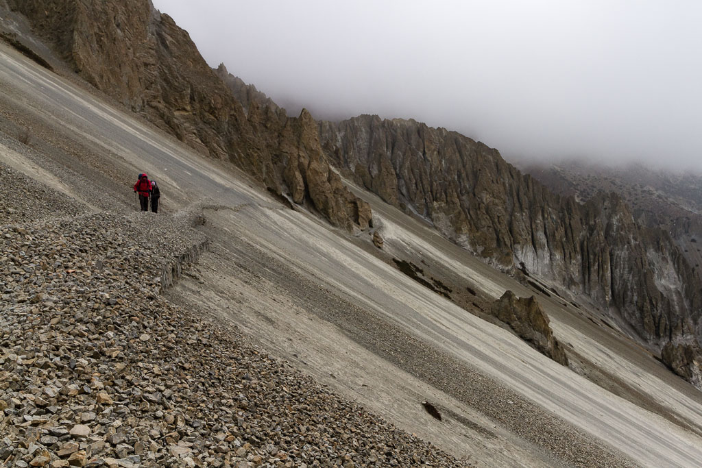 Crossing the scree field to Tilicho Base Camp