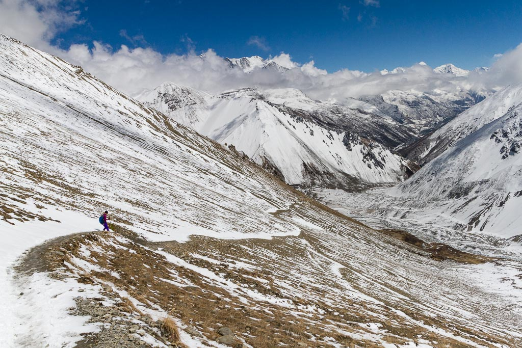 Walking down the trail to Tilicho Base Camp