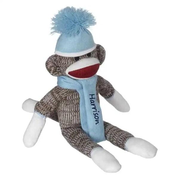 Personalized Sock Monkey - Baby Blue