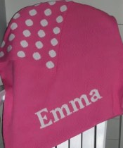 Hand Knit Polka Dot Blanket with Name
