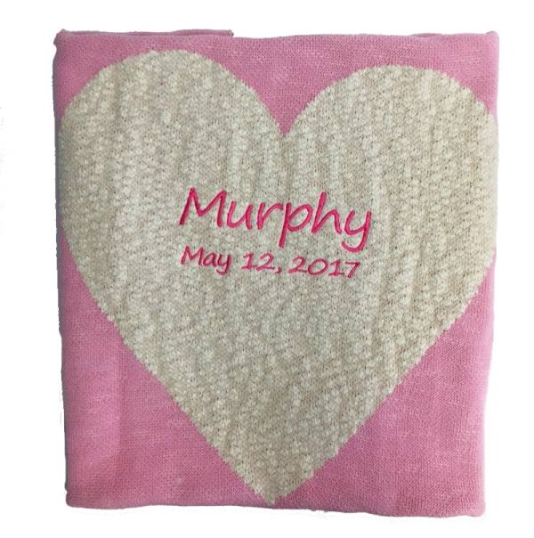 Chunky Pink Heart Blanket with Date